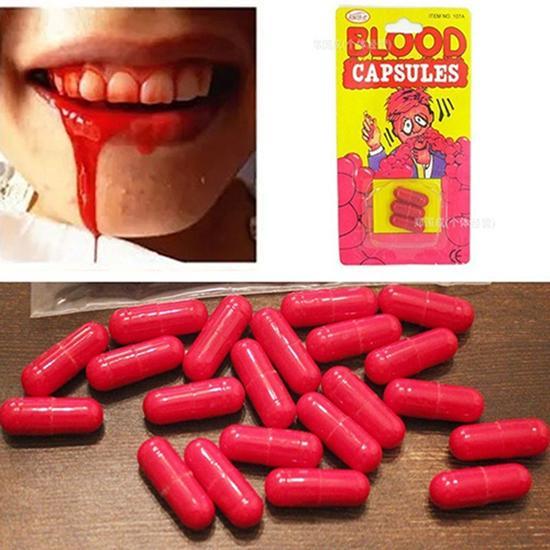 3Pcs/Box Horror Funny Halloween Prop Gag Realistic Fake Blood Pills Capsules