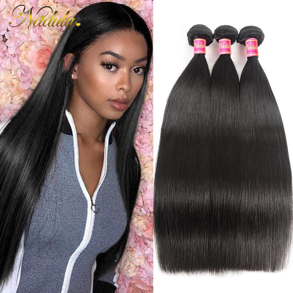 Nadula Hair  Straight Hair s 3pcs Hair Bundles Machine Double Weft 100% Human  Hair Bundles 1