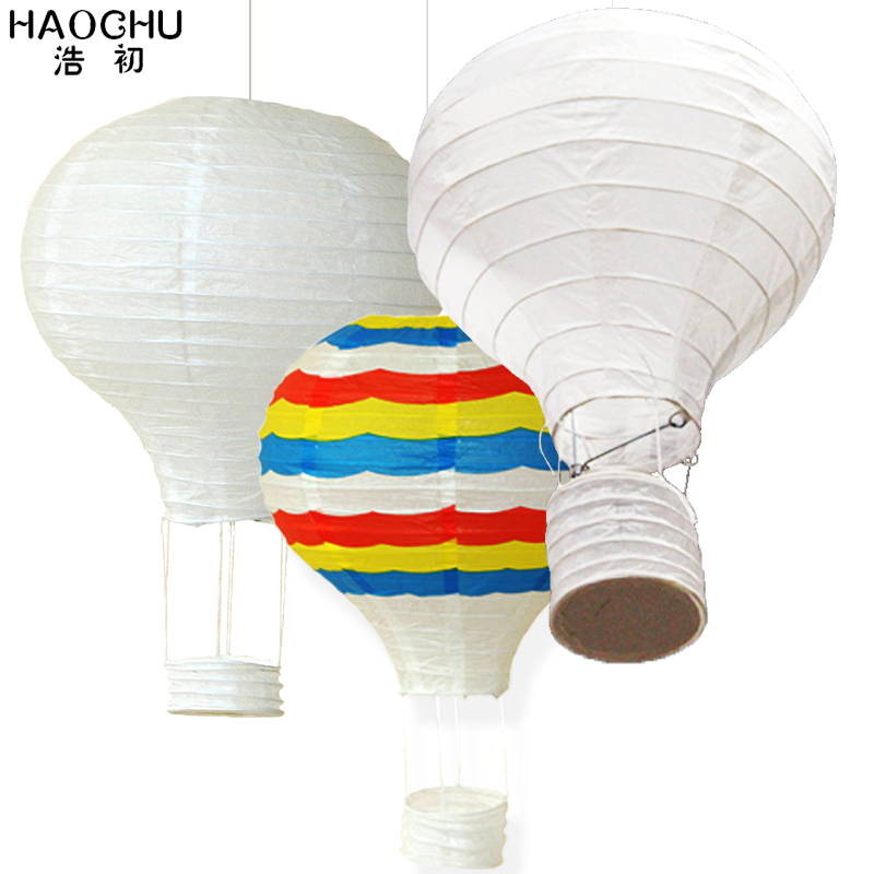 5PC Large Hot Air Balloon Paper Lantern Rainbow Hanging Ball White Chinese Wishing Lanterns Wedding Birthday Holiday Party Decor