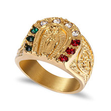 Pria Emas Plating Cubic Zirconia Our Lady Of Guadalupe Perawan Maria Cincin Agama Cincin(China)