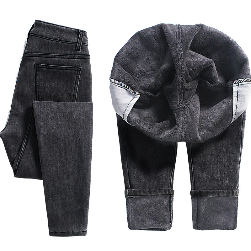 Plus Velvet Winter Jeans Women Warm Thicken Stretch High Waisted Jeans Female Denim Pencil Pants Boyfriend Jeans For Women Q1910