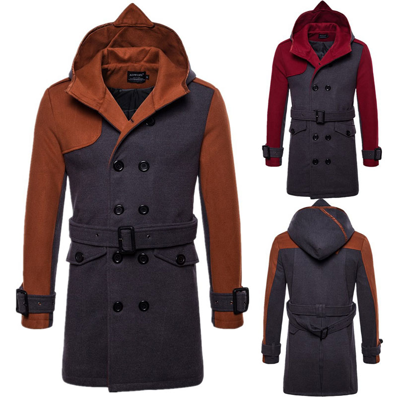 Autumn and winter oversized wool blend coat men's long windbreaker jacket cotton thick warm men's gray jacket men's coat 3xl