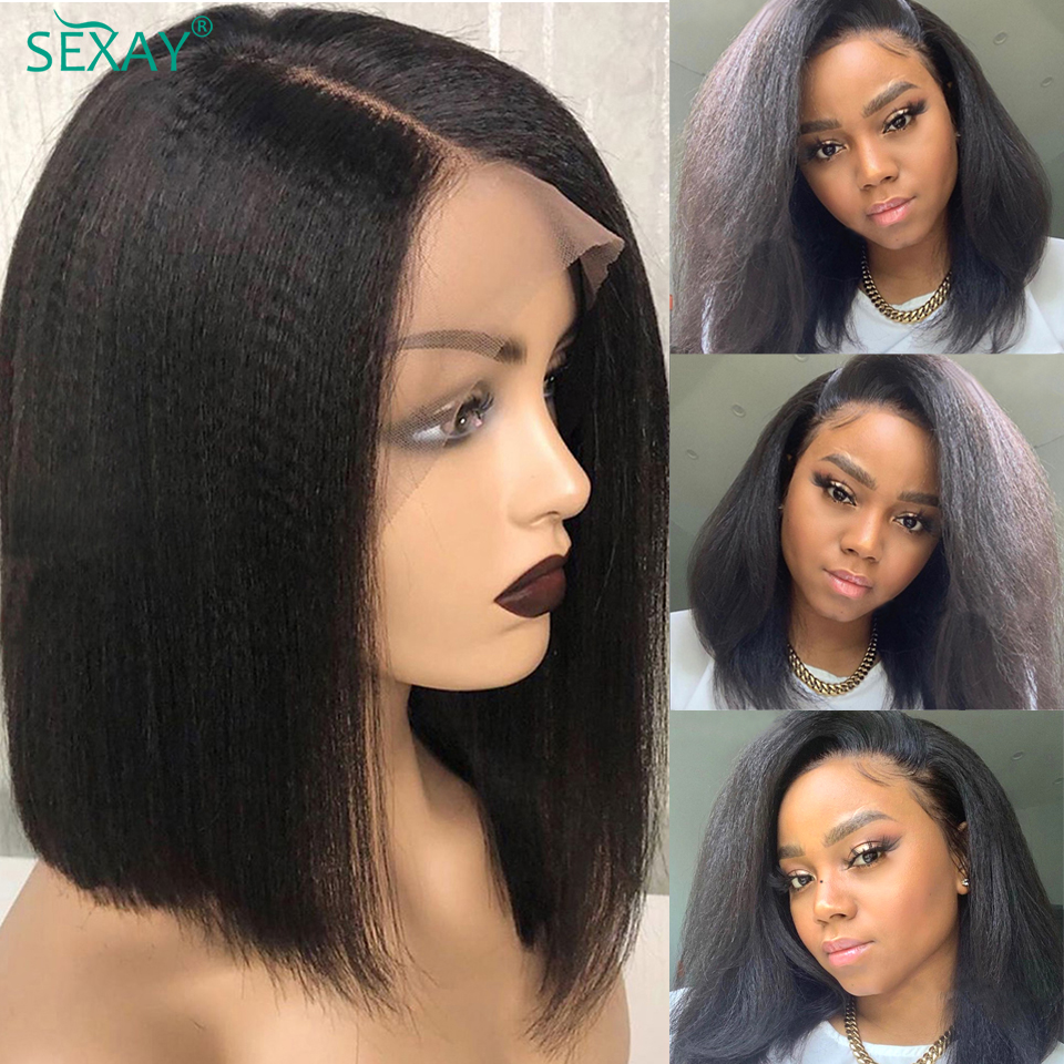 SEXAY Short Kinky Straight Wig Pre Plucked 13x4 150% Brazilian Virgin Hair Bob Lace Front Wigs Human Hair Wigs For Black Women