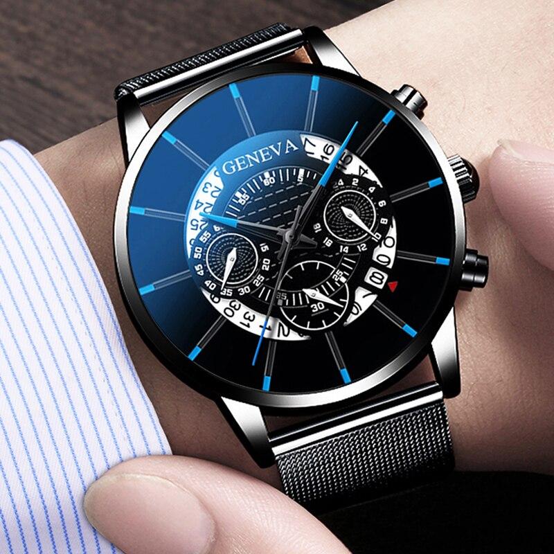 Luxury Men's Fashion Business Calendar Watches Blue Stainless Steel Mesh Belt Analog Quartz Watch relogio masculino 5