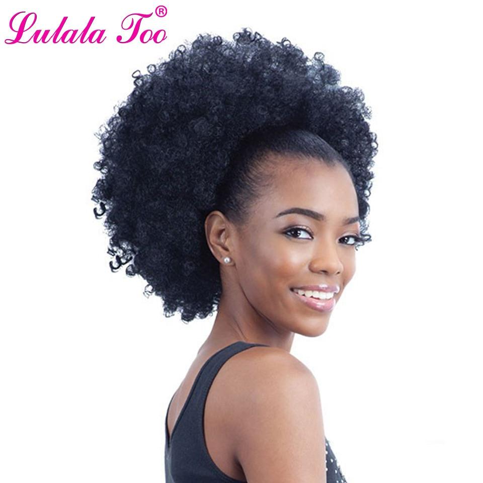 10 дюймов, афро-слоеные синтетические волосы, пучок шиньон для женщин, Завязывающийся хвост, кудрявые вьющиеся волосы для наращивания на зак...