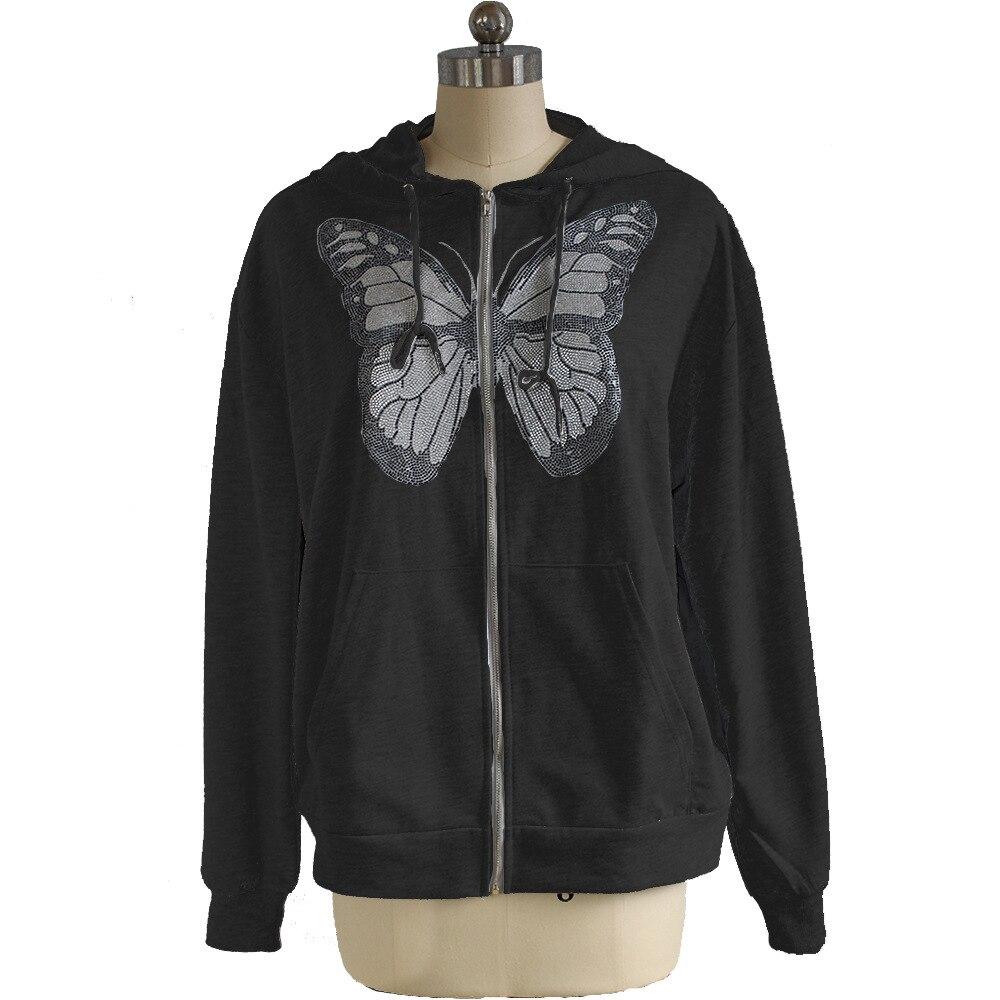 Kawaii Butterfly Zip Up Long Sleeve Summer Sweatshirts 2021 Spring Oversized Hoodies Women Cotton Black Streetwear GrayTops 12