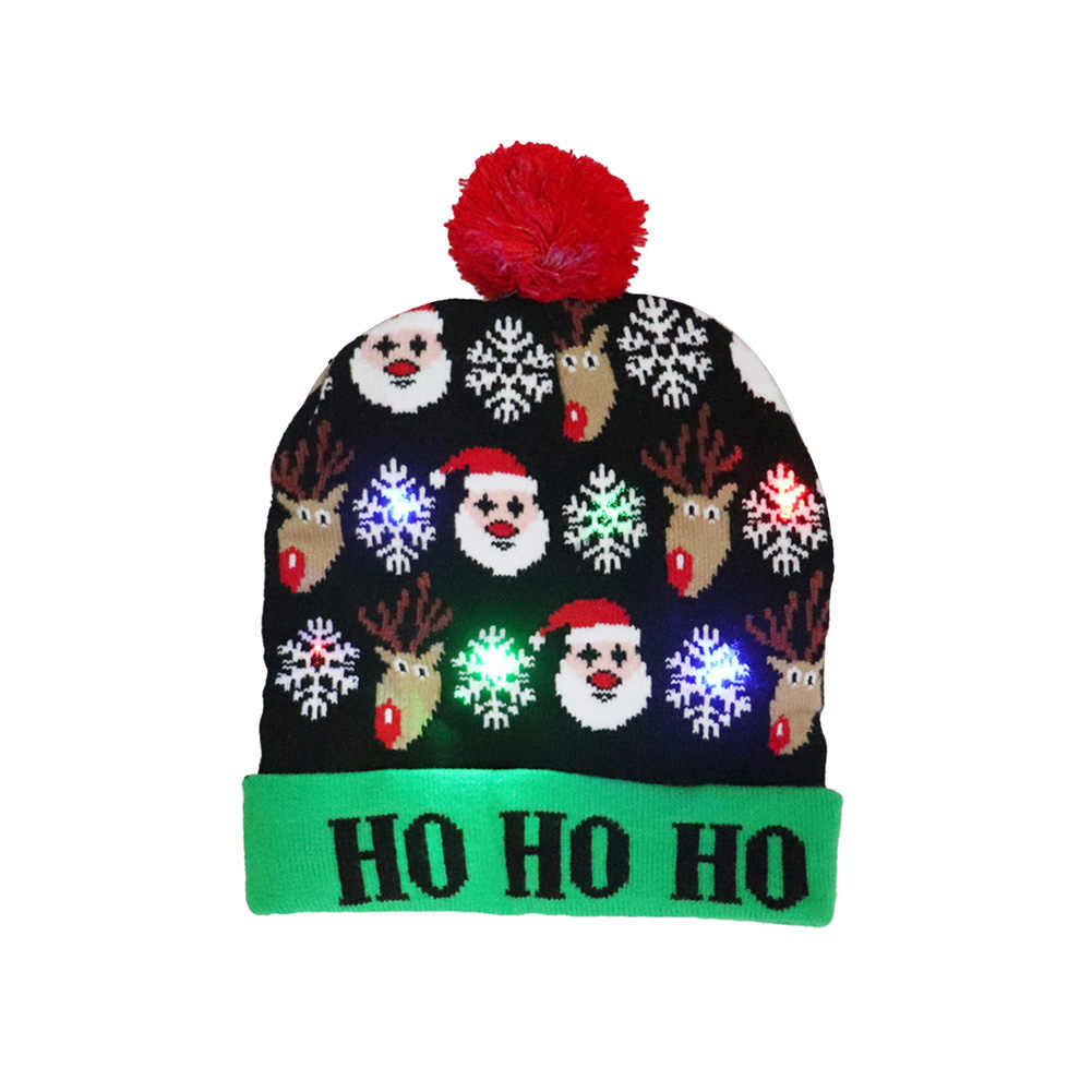 Noel şapkaları renkli led ışık yumuşak sıcak örme şapka Santa kardan adam ren geyiği noel şapka yetişkin çocuklar parti kapağı dekor