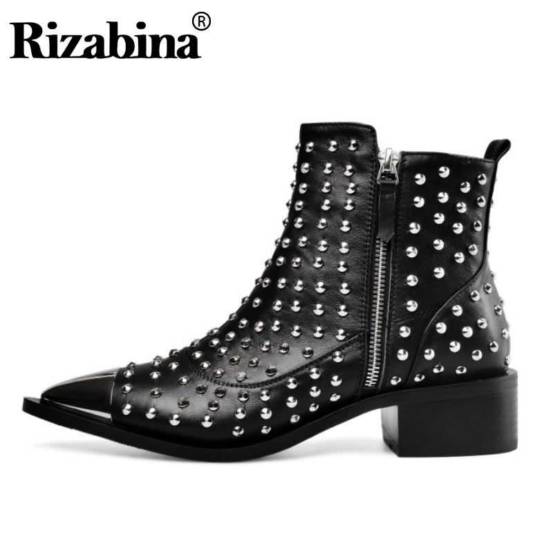 RIZABINA Sexy Lady Stylish Rivets Pointed Toe Genuine Leather Ankle Boots Office Work Winter Zipper Club Shoes Woman Size 33-43