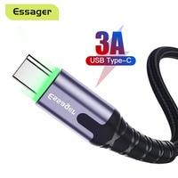 Essager LED USB Typ C Kabel Für Samsung Xiaomi Oneplus Schnelle Ladekabel USB C Typ-c Ladegerät USB-C lade Datenkabel 3m