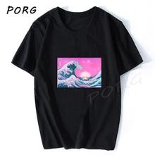 Steam Wave Big Wave Sunset Anime Men T Shirt
