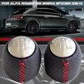 Черная/красная линия ручного переключения передач ручка переключения передач для ALFA ROMEO 159 автомобиль Brera spider (2005-2011) Натуральная кожа для ск...