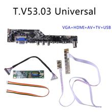 V53 LCD ТВ контроллер драйвер платы PC/VGA/HDMI/USB интерфейс + 7 ключ плата комплект