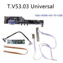 V53 LCD TV denetleyici sürücü panosu PC/VGA/HDMI/USB arayüzü + 7 anahtar kurulu kiti