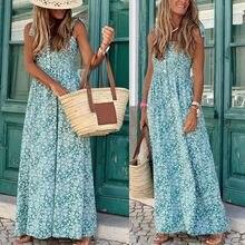 De las mujeres de la moda vestido largo para Vacaciones verano Floral impresión Maxi vestido sexy Honda arco, Boho chic vestido sin mangas ropa largo verano