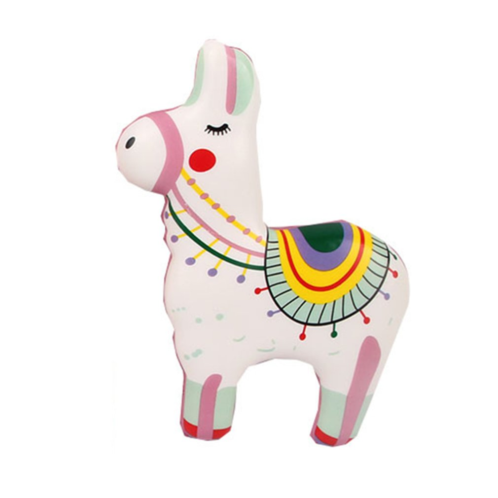 Simulated Cartoon Color Printing Alpaca Toy Decoration Slow Rebound Decompression Toy Foam Relaxed Toy Cake Sample Model