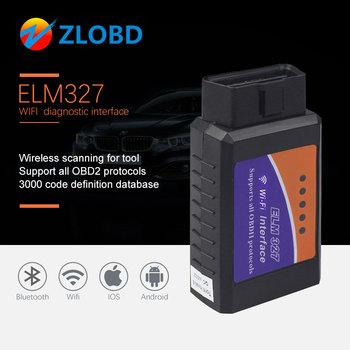 Narzędzie diagnostyczne do samochodów OBD2 ELM327 V1 5 adapter WIFI skaner dla iPhone IOS OBD 2 ODB II ELM 327 WIFI ODB2 skaner samochodowy EML327 v2 1 tanie i dobre opinie ZOLIZDA 30inch plastic and metal Kable diagnostyczne samochodu i złącza Bluetooth 0 15kg Newest 10inch 25inch Bottom price