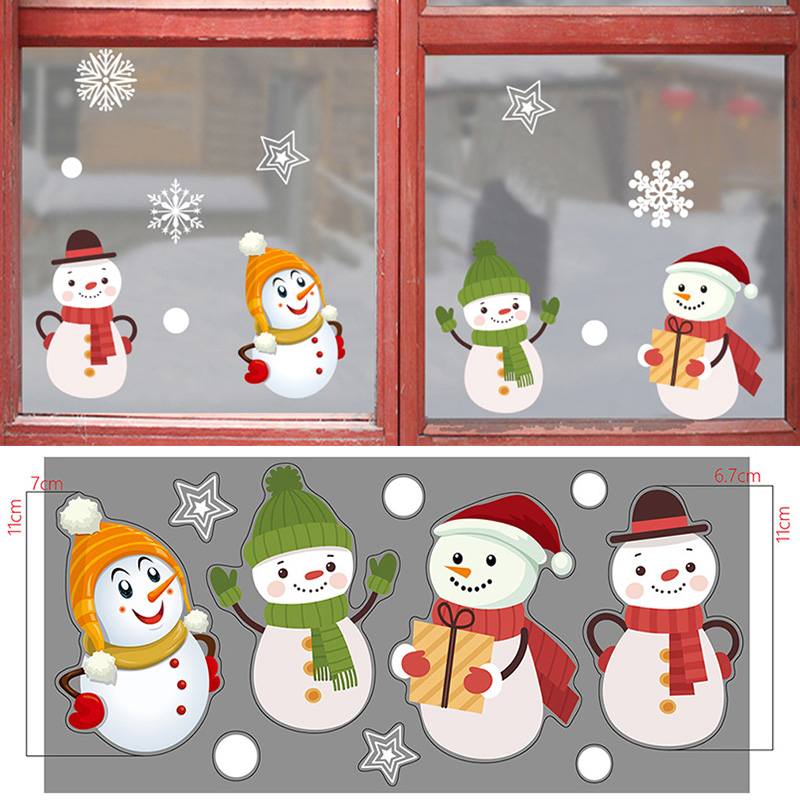 Merry Christmas Wall Stickers Fashion Santa Claus Window Room Decoration PVC Glass Decals New Year Home Decor Removable