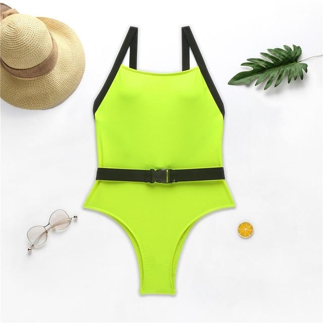 Neon Yellow Belt Buckle One Piece Swimsuit Swimwear Women Sexy Bikini 2020 Summer Monokini High Cut Bathing Suit Women Bathers 5