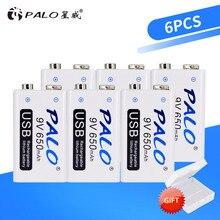 Palo 6 peças de baterias recarregáveis, usb, 9 v, 6f22, 650mah, 9 volts, carregamento rápido, baterias de íons de lítio li ion