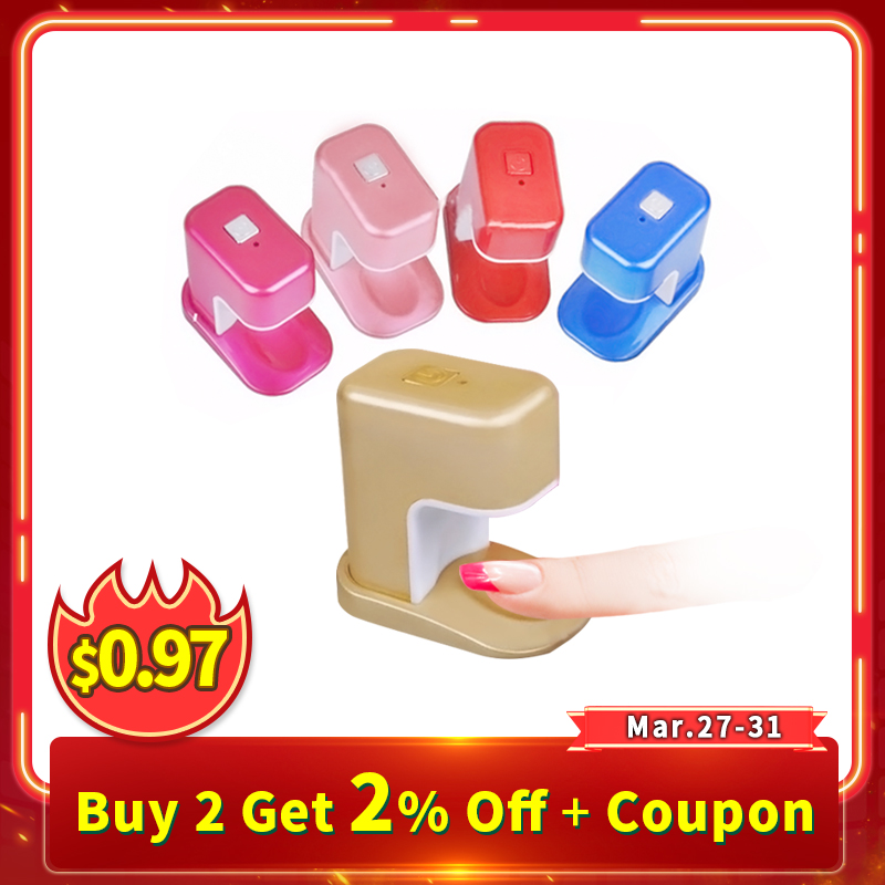 3W Mini Nail Dryer Portable Single Finger Nail Art LED UV Lamp for UV Gel Nails Curing Cute Manicure Nail Tools