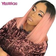 Yeswigs цветные человеческие волосы парики короткие кружевные Передние Прозрачные бразильские кружевные парики для женщин прямые волосы remy 1B 613 розовый синий