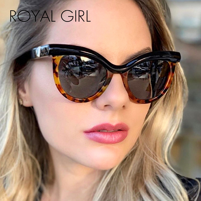 ROYAL GIRL 2020 New Trend Ladies Sunglasses Brand Luxury Half Frame Fashion Cat Eye Sunglasses Ss384