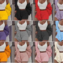 Coat Sweatshirt Cardigan Women Tracksuit Three-Piece Shorts Crop-Top Hooded Fluffy-Sets