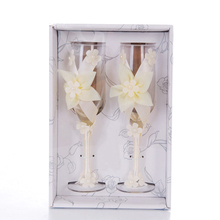 2Pcs Set Wedding Glass Creative Flowers Crystal Champagne Glasses Goblet Red Wine Cup Decoration