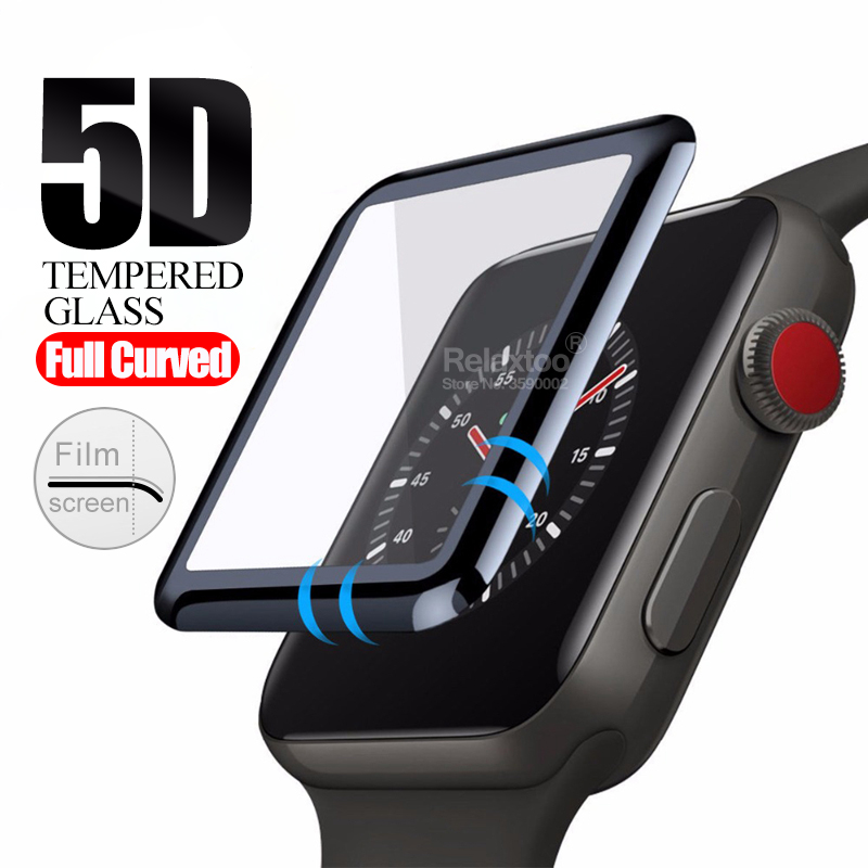 5D Curved Protective Glass For IWatch Series 5 4 40 44 Mm Screen Protector On The For Apple I Watch 40mm 44mm Tempered Glas Film