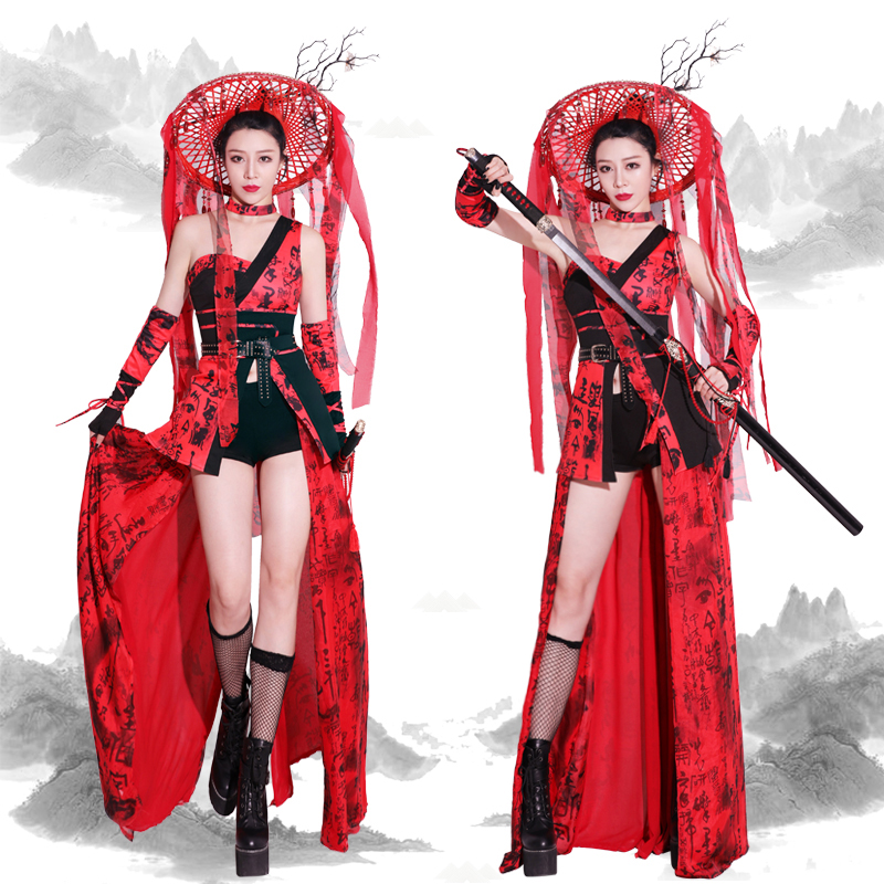 Lady Killer Theme Party Cosplay Costume For Women Prom Rave Clothes Show Wear Stage Dress Sexy Dance Suit Red Fairy Dress 3088