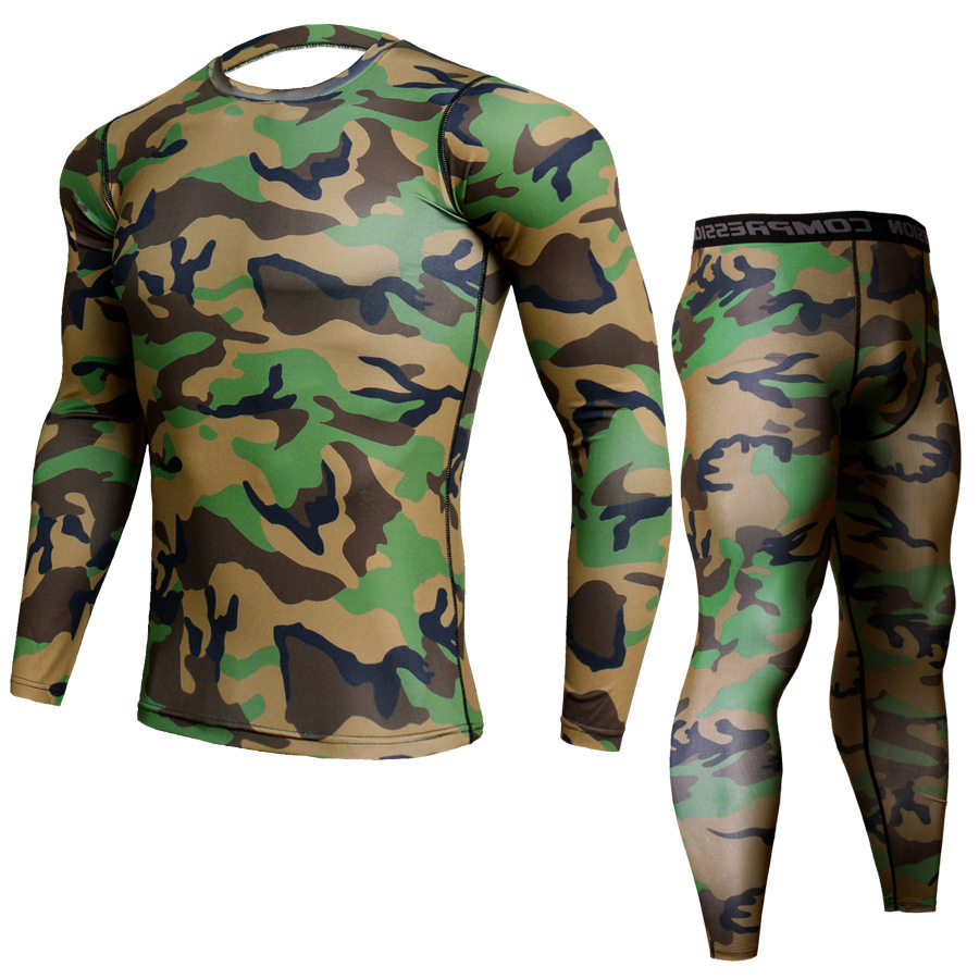 Men's PRO Tight Fit Exercise, Elastic Quick-drying Suit, Long Sleeve, Long-sleeved Trousers