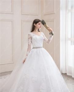 Image 4 - 웨딩 드레스 2021 전체 슬리브 섹시한 v 목 스윕 기차 볼 가운 공주 럭셔리 레이스 Vestido 드 Noiva 웨딩 드레스 플러스 크기