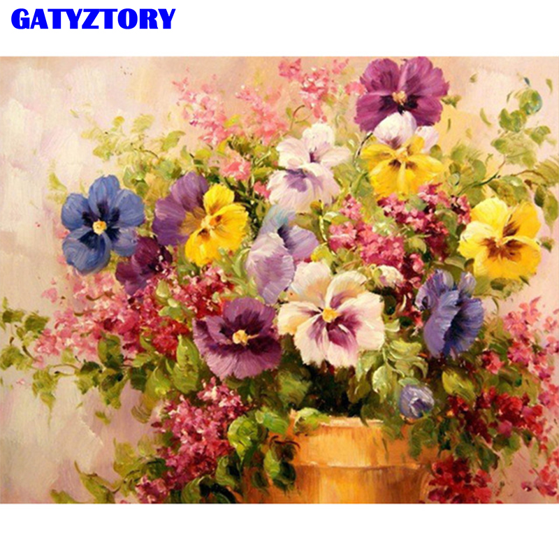 GATYZTORY Framed DIY Painting By Numbers Phalaenop Flowers Kit Canvas Picture Paint By Numbers Wall Art Craft For Home Decor
