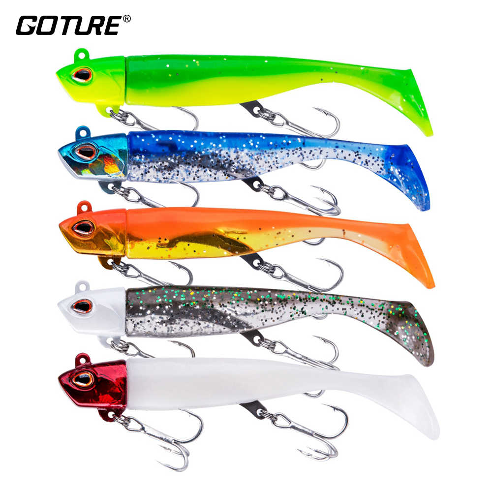 Goture 5pcs/lot Soft Fishing Lure Black Minnow Swimbait Artificial Bait Jig Head Silicone Body Fishing Tackle (1Head + 2 Tail)