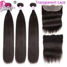 יופי לנצח שקוף תחרה פרונטאלית רמי שיער ברזילאי ישר שיער טבעי 3 חבילות עם פרונטאלית סגירת 13*4 משלוח חלק