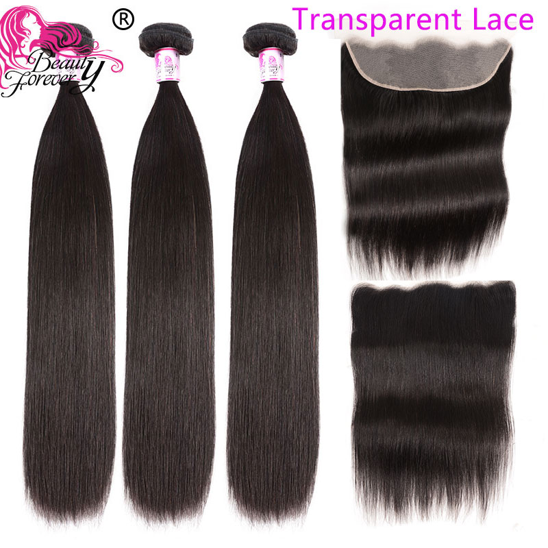 Beauty Forever Transparent Lace Frontal Remy Hair Brazilian Straight Human Hair 3 Bundles With Frontal Closure 13*4 Free Part