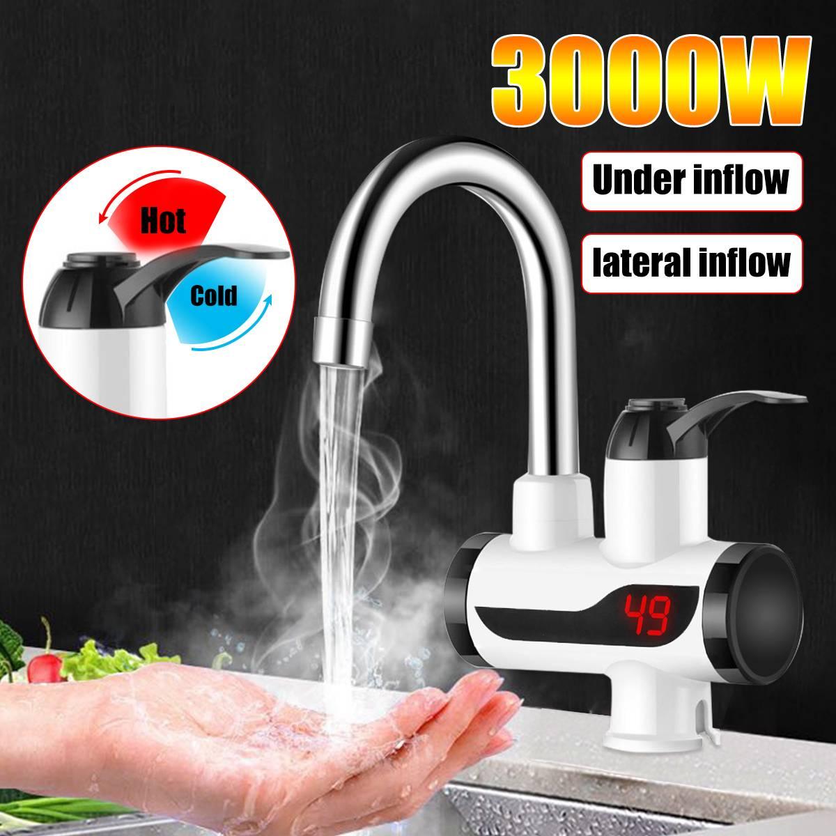 3000W instantané électrique robinet robinet chauffe-eau LED affichage salle de bain cuisine robinet robinet chauffe-eau avec et couleur noire