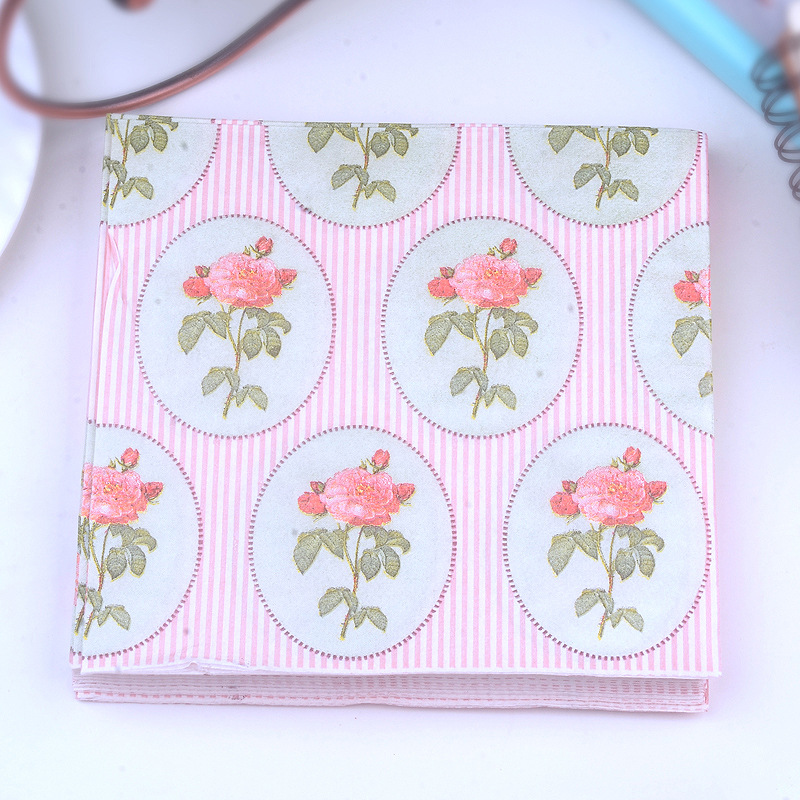 Manufacturers Direct Selling Pink Roses Printed Napkin Stripes Paper Placemat Tissue Paper Napkin Hotel Cup Stained Paper Custom