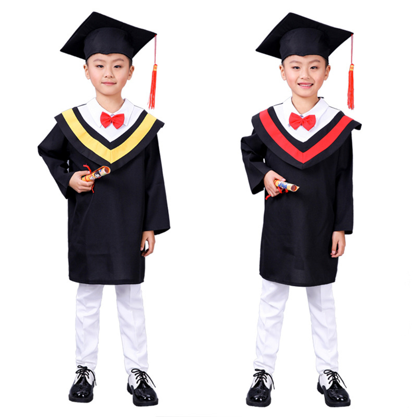 School Girl Uniform Graduation Student Doctor Group With Cap Robes Stage Clothes Kids Class Performance Party Costumes