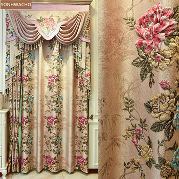 Custom curtains villa high-precision relief pattern chenille thick gold coffee cloth blackout curtain valance tulle panel C145