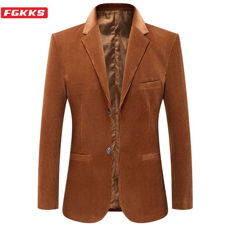 FGKKS Brand Men Fashion Blazers New Men's Business Casual Suit Jacket Spring Autumn New Slim Fit Corduroy Blazers Male