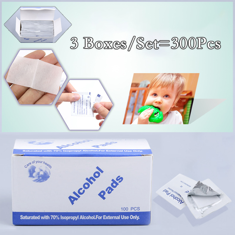 Brand 3 Box/Set Portable 100 Pcs/Set Profession Alcohol Cotton Pad Wet Wipes 70% Isopropyl Cleaning First Aid Disinfection