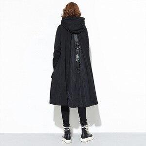 Image 4 - 새로운 2019 일본 스타일 여성 겨울 블랙 후드 드레스 포켓 지퍼 긴 소매 레이디 플러스 크기 휴일 캐주얼 미디 드레스 j220