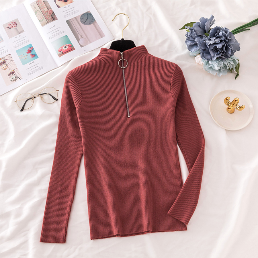 Fashion Zipper Knitted Sweater Women Winter Streetwear Turtleneck Warm Pullovers Female Casual Tight Bottoming Sweaters Sexy Top