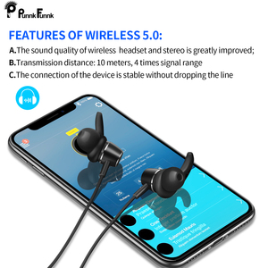 Image 5 - Punnkfunnk bluetooth 5.0 イヤホンマグネット重低音ステレオスポーツヘッドフォン iphone 5 6 7 8 × xr xs 最大 xiaomi oppo サムスン