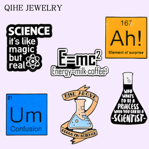Scientific Energy Enamel Pin Chemical Experiment Beaker Cup Modal particle Ah Um Science Jewelry For Women Men Scientist Brooch