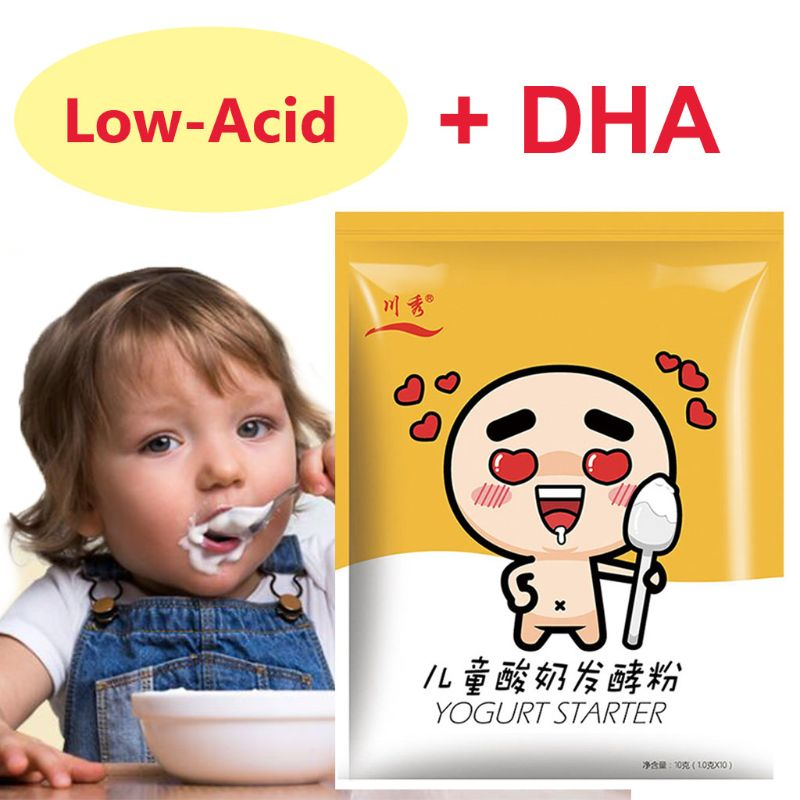 Baby Low Acid Yogurt Starter,5 Probiotics,DHA,1g-1L,1g*10 Pack ,Make Dessert At Home