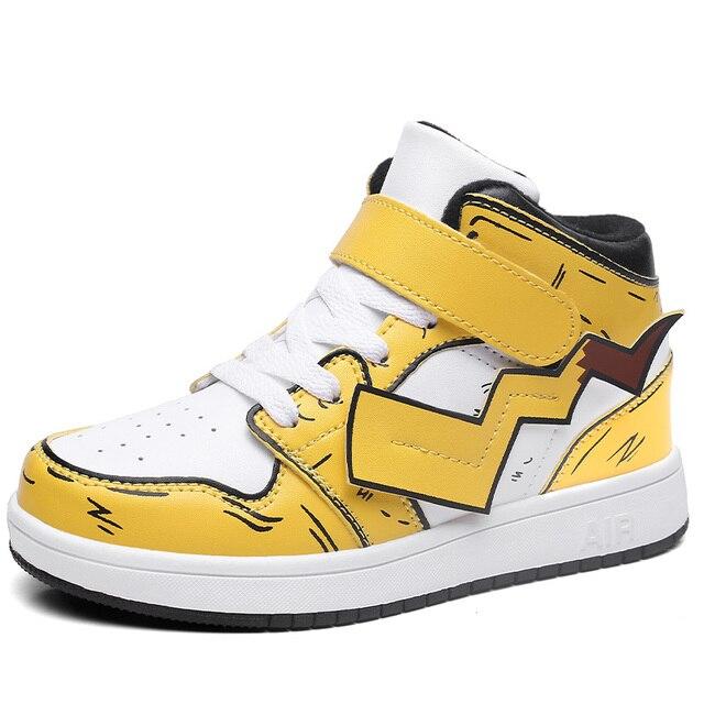 Chaussures de sport pour garçons | Chaussures Pikachu Cosplay Dunk High Skateboard, mode des étudiants, Hip Hop, chaussures assiette, baskets pour enfants, nouvelle collection 2020