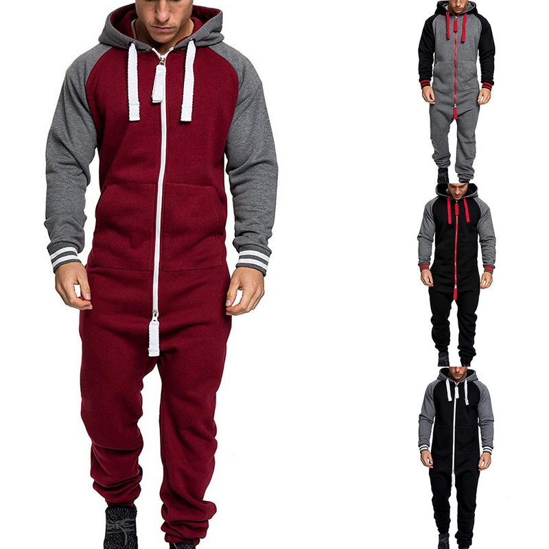 Men Overalls Brand Long Sleeve Sweatshirt One-piece Garment Pajama Casual Tracksuit Jumpsuit Splicing Long Sleeve Male Clothes