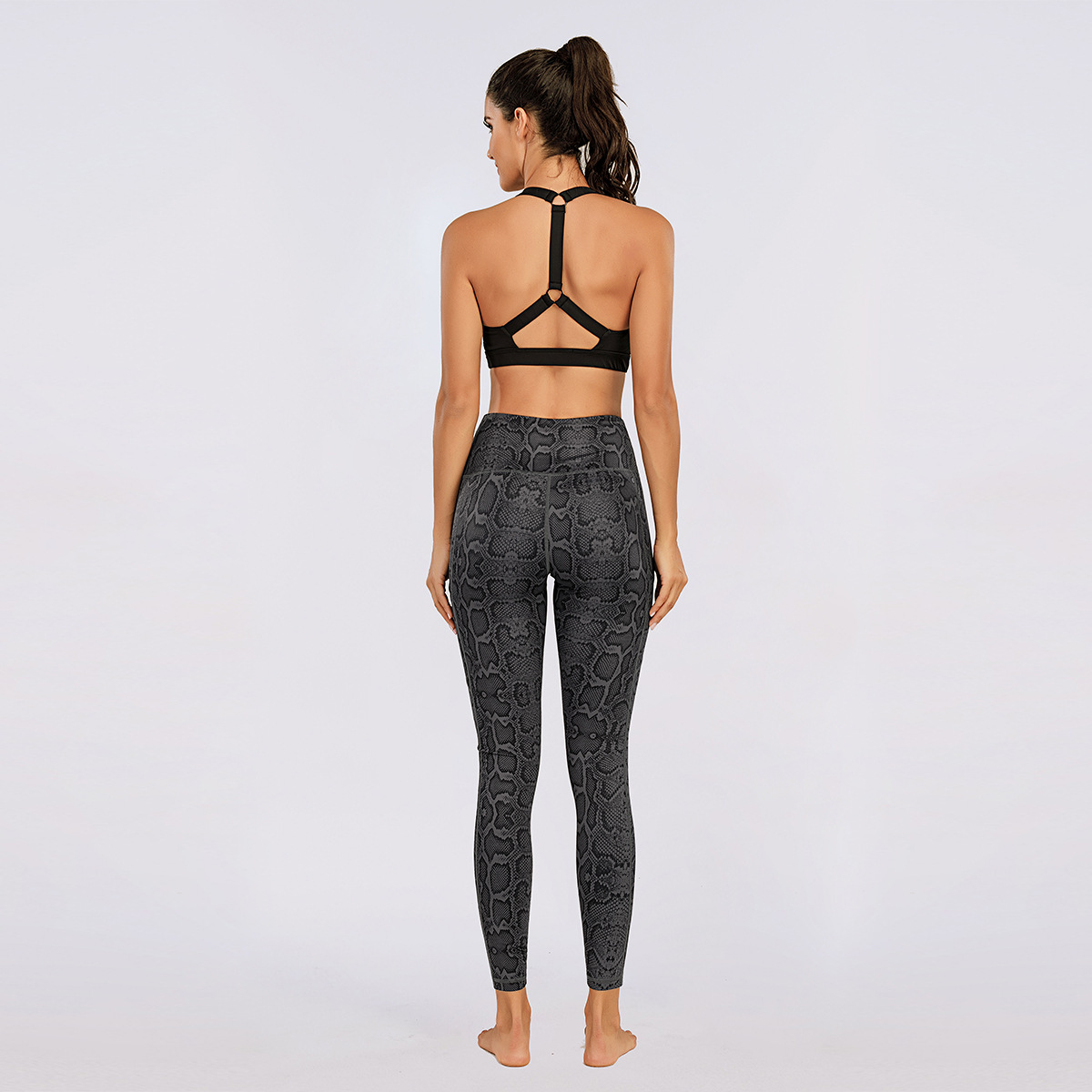 Women Sportswear Black Printed Yoga Pant Pocket Sports Leggings High Stretchy Gym Tights Women Running Pants Fitness Clothes Sport9s